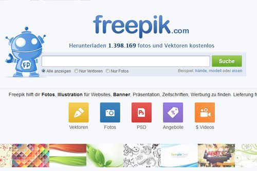 Freepik: Frei verfügbare Design-Ressourcen Meta-Suchmaschine