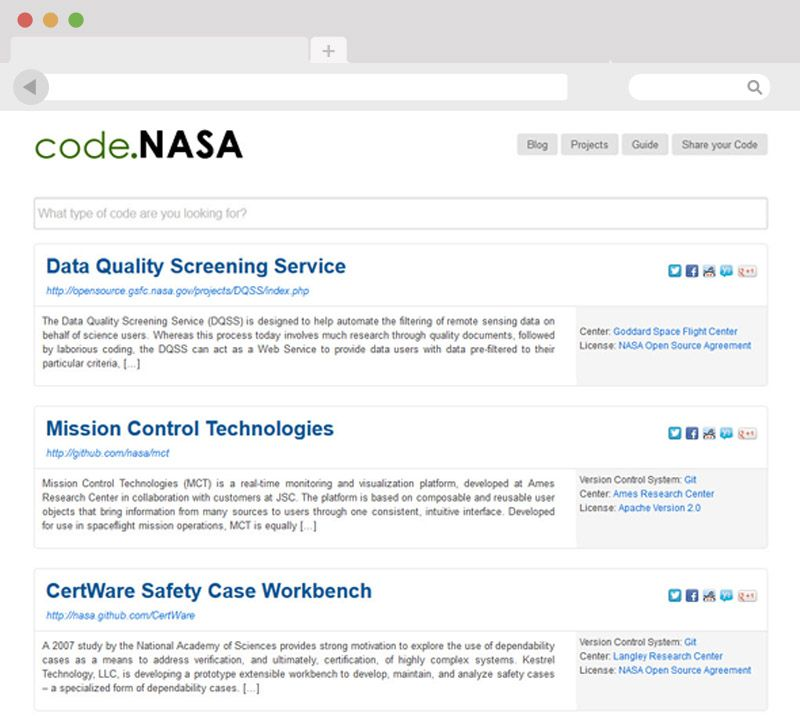 Die NASA Open Source Code Website mit WordPress