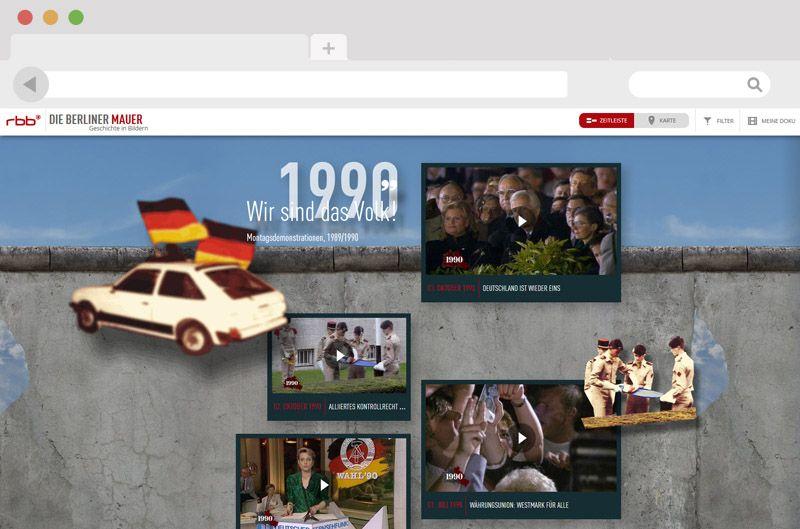 Das Webdesign schreibt Geschichte Berliner Mauer Geschichte in Bildern